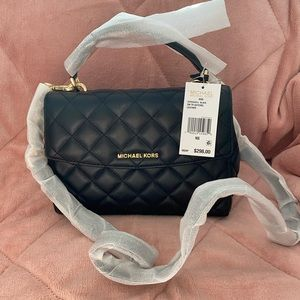 Michael Kors Ava Small Quilted Leather Satchel Bag